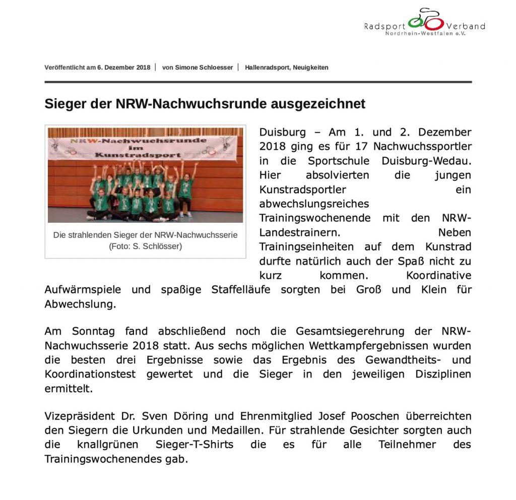 Artikel auf der Web-Seite des Radsportverbands NRW